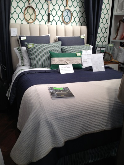 Navy and emerald are crisp and preppy together in the bedding set from Eastern Accents.