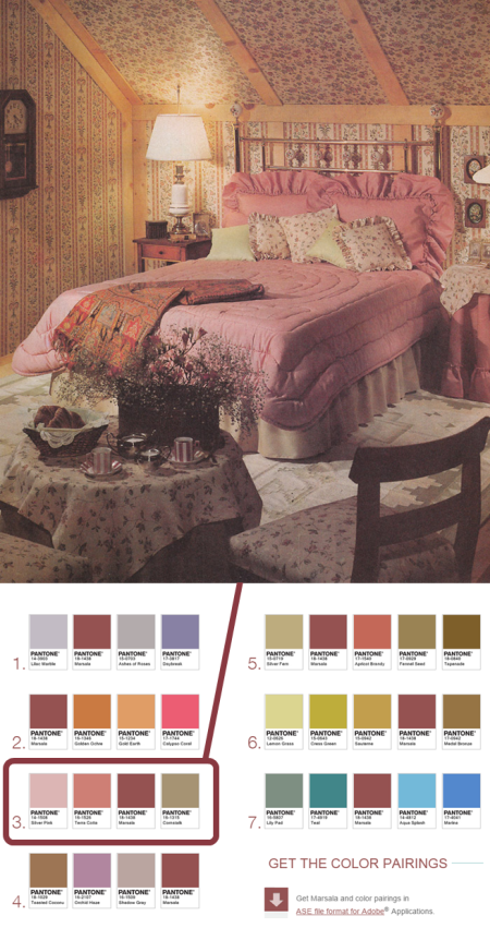 Exhibit B: A Laura Ashley-inspired bedroom ca. 1987. Images via huffingtonpost and pantone.