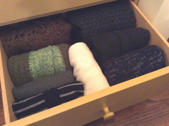 Even bulky sweaters can be folded and stacked on end. Who knew?