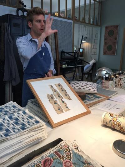 Designer Jean Baptiste at Aintoinette Poisson show us remnants of vintage wallpaper that have been preserved.
