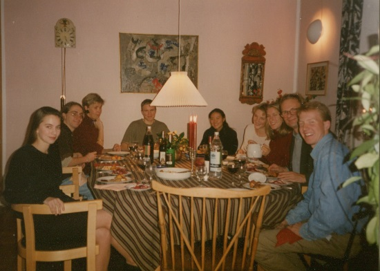 Here I am (pictured on the left) with my Danish host family and several friends from my exchange program in 1995.